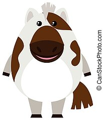 Cute horse on white background