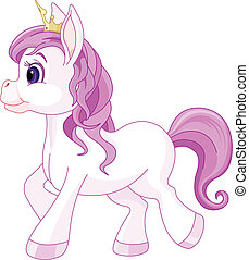 Cute horse princess walking - Illustration of walking cute...
