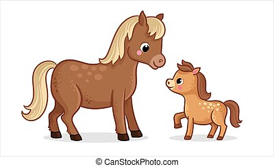 Cute horse with foal on a white background in cartoon style. Vector illustration.