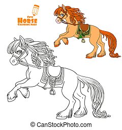 Cute horse with lush mane bucks front hooves color and outlined picture for coloring book on white background