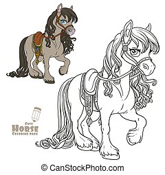 Cute horse with lush mane harnessed to a saddle color and outlined picture for coloring book on white background