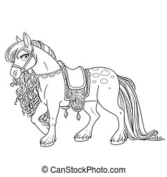 Cute horse with lush mane harnessed to a saddle outlined picture for coloring book on white background
