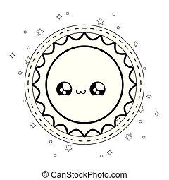 cute hot sun in frame circular kawaii style