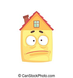 Cute house cartoon character with sad expression on its face, funny emoticon vector illustration