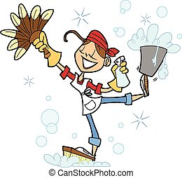 Cute House Cleaner Cartoon - This is a vector illustration...