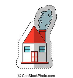 cute house drawing icon