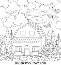 cute house for your coloring book