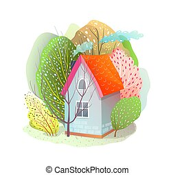 Cute House in Trees Forest Summer Hut