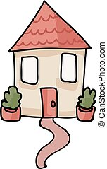 Cute House Spot Illustration for House Warming Scrapbooking....