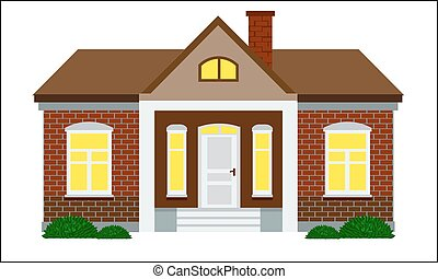 Cute house with flat color style design vector. Brick wall