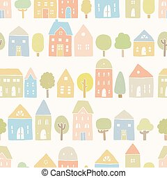 Cute houses and trees pattern