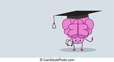 cute human brain with book pink cartoon character in round glasses and graduation cap education concept kawaii style horizontal