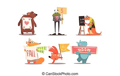 Cute humanized animals set, funny animals with different signs vector Illustration