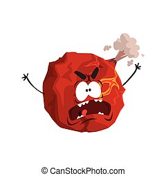 Cute humanized Mars planet character, red sphere with funny face cartoon vector Illustration