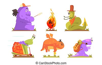 Cute humanized monsters go camping. Vector illustration.