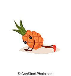 Cute humanized pineapple doing push ups. Cartoon character of tropical fruit. Sport and active lifestyle. Flat vector icon