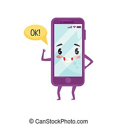 Cute humanized smartphone with kawaii face showing Ok gesture. Cartoon character. Flat vector design