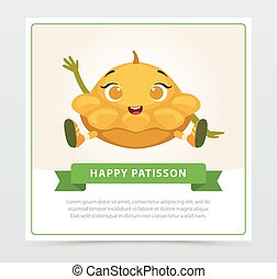 Cute humanized squash vegetable character waving its hand,...