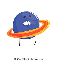 Cute humanized Uranus planet character, sphere with funny face cartoon vector Illustration