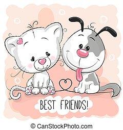 cute, hund, kat