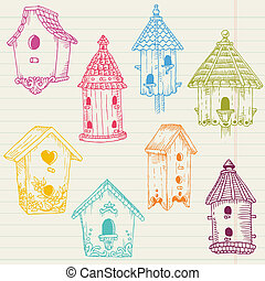 cute, hus, -, hånd, fugl, vektor, konstruktion, stram, scrapbog, doodles
