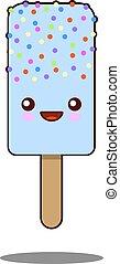 Cute ice-cream cartoon kawaii face icon . Flat design Vector