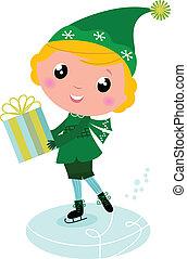 Cute ice skating Elf boy with big Gift