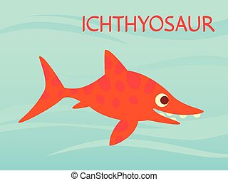 Cute Ichthyosaur swimming. Dinosaur life. Vector illustration of prehistoric character in flat cartoon style isolated on underwater background. Funny orange Ichthyosaurus. Element for design.