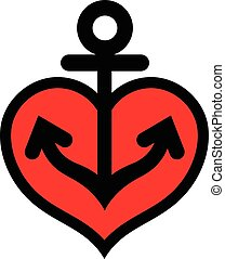 Cute icon heart with anchor symbol