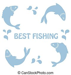 "Cute icon with a fish and an inscription: ""Best fishing"""