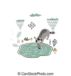 Cute Icon with raccoons. Hand Drawn Scandinavian Style. Vector Illustration