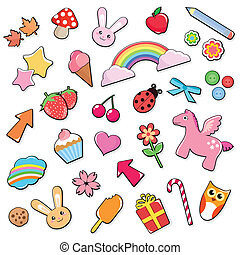 cute icons set - collection of many cute and colorful icons