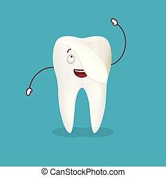 cute, illustration., dental, isolado, dente, experiência., ...