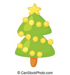 cute, illustration., engraçado, fir-tree, isolado, caricatura, vetorial, white., icon., style., natal