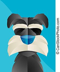 Cute Illustration of a Schnauzer dog with Blue Background