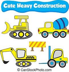Cute Illustration of a truck for heavy construction flat cartoon