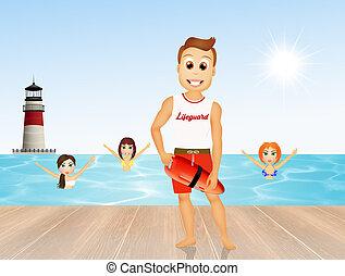 illustration of lifeguard - cute illustration of lifeguard