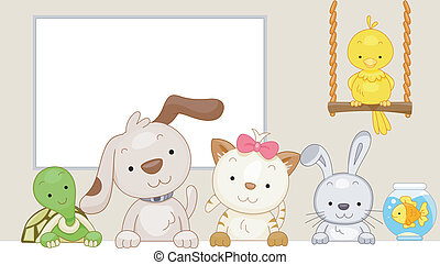 Pets - Cute Illustration of Pets Sitting Side by Side