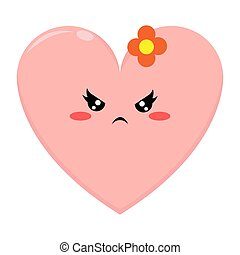Pink Love Character with Angry Expression