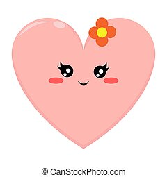 Pink Love Character with Happy Expression