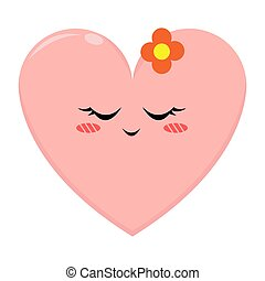 Pink Love Character with Shy Expression
