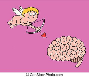 Cute illustration of the little angel Cupid pointing with an arrow with a heart to a human brain
