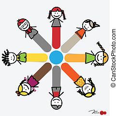 cute, illustration., pegajoso, vetorial, feliz, crianças, caricatura, notas.