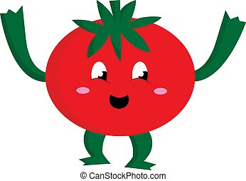 cute, illustration., tomates, cor, vetorial, ou