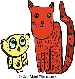 Cute illustration with confused owl and red cat