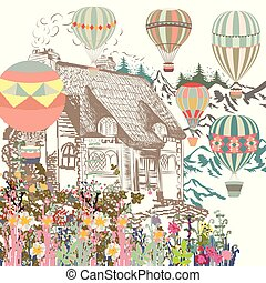 Cute illustration with old Europian house, garden and air balloons. Boutique banner or card
