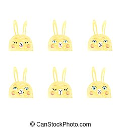 Cute illustrations of bunnies with different emotions
