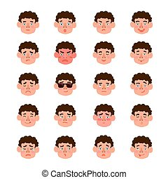 Cute illustrations set of boys with different emotions