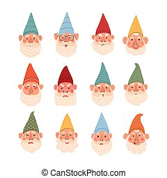 Cute illustrations set of gnomes with different emotions