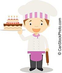 cute, ilustração, cozinheiro, vetorial, massa, caricatura